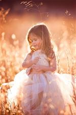 Preview iPhone wallpaper Lovely little girl, curls, child, grass, summer