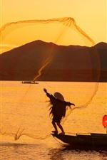 Preview iPhone wallpaper Lvjiang Village, fisherman, river, morning