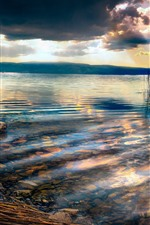 Preview iPhone wallpaper Macedonia, Ohrid Lake, stones, reeds, clouds, sunset