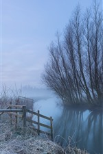 Preview iPhone wallpaper Morning, river, trees, fog
