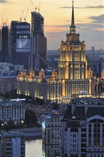 Preview iPhone wallpaper Moscow, Russia, city, buildings, night, lights