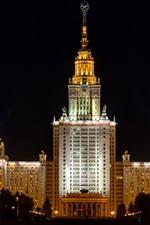 Moscou, Universidade, edifícios, noite, luzes