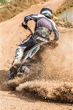 Preview iPhone wallpaper Motorcycle race, dirt splash