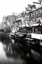 Preview iPhone wallpaper Nanjing, snowing, winter, river, house, retro style