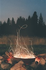 Preview iPhone wallpaper Night, stones, fire, sparks