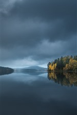 Preview iPhone wallpaper North Karelia, Finland, trees, lake, water reflection, clouds, dusk