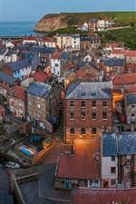 iPhone fondos de pantalla Mar del norte, yorkshire del norte, inglaterra, aldea, casas, río, anochecer