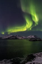 Northern light, night, sea, mountains, snow, winter