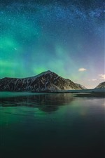 Preview iPhone wallpaper Northern lights, Iceland, mountain, sea, night