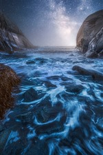 Preview iPhone wallpaper Norway, fjord, starry sky, sea, night