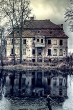 Preview iPhone wallpaper Old house, trees, pond