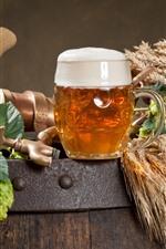 One cup beer, foam, wheat, hops