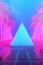 Preview iPhone wallpaper Palm trees, triangle, neon, art design