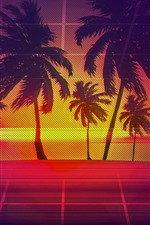 Preview iPhone wallpaper Palm trees, wire fence, art picture