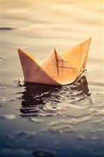 Preview iPhone wallpaper Paper boat, puddle
