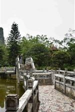 Preview iPhone wallpaper Park, lake, trees, stone bridge