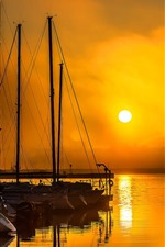 Preview iPhone wallpaper Pier, yacht, sunset, sea