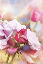 Pink roses, texture, art style