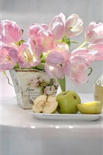 Preview iPhone wallpaper Pink tulips, green apples, wine, table