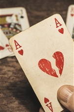 Preview iPhone wallpaper Play cards, A, love heart