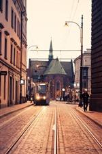 Preview iPhone wallpaper Poland, Krakow, tram, church, city, street