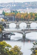 iPhone壁紙のプレビュー プラハ、チェコ共和国、カレル橋、川、市、住宅