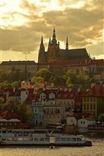 Praga, república tcheca, vltava, cidade, casas, anoitecer