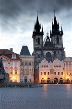 Preview iPhone wallpaper Prague, Czech Republic, city, square, buildings, dusk, lights