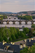 Prague, Czech Republic, river, bridges, city, houses