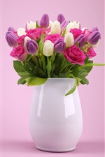 Preview iPhone wallpaper Purple and white tulips, pink rose, vase