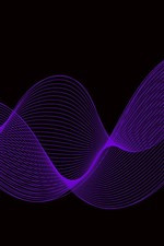 Preview iPhone wallpaper Purple curves, black background, abstract