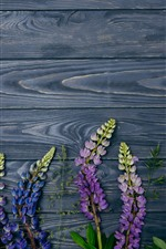 Preview iPhone wallpaper Purple lupine flowers, wood background