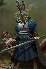 Preview iPhone wallpaper Rabbit warrior, sword, armor, creative picture