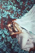 Preview iPhone wallpaper Red hair girl, white skirt, sleep, leaves, art photography