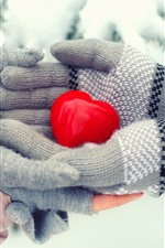 Preview iPhone wallpaper Red love heart, hands, winter