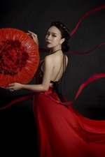 Preview iPhone wallpaper Red skirt Chinese girl, art photography