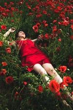 Menina saia vermelha dormir em papoilas vermelhas