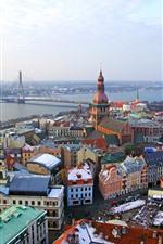 Riga, latvia, cidade, vista, rio, ponte, casas