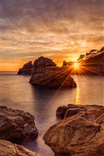 Preview iPhone wallpaper Rocks, sea, sunset, sun rays