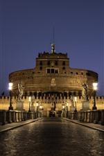 Roma, itália, estátua, edifícios, estrada, luzes, noturna