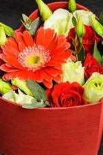 Preview iPhone wallpaper Roses, gerberas, love heart, box
