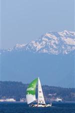 Preview iPhone wallpaper Sailboat, sea
