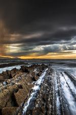Preview iPhone wallpaper Sea, coast, rocks, waves, dusk, clouds