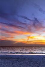 Sea, sunset, sky, clouds, beach, people