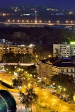 Serbia, Novi Sad, city, night, river, lights