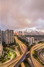 Shenzhen, city night view, roads, houses, lights
