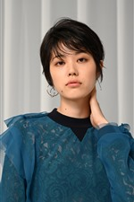 Preview iPhone wallpaper Short hair Asian girl, blue dress