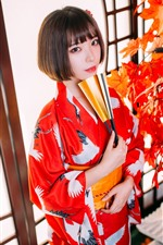Preview iPhone wallpaper Short hair Japanese girl, kimono, red maple leaves