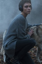 Preview iPhone wallpaper Short hair girl and wolf, fog, morning