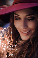 Preview iPhone wallpaper Smile girl look at lights